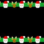 サンタとトナカイの緑チェック柄の上下フレーム飾り枠イラスト