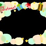 クリスマスツリーとプレゼントと星のフレーム飾り枠イラスト