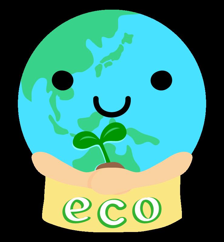 かわいい地球とエコのイラスト