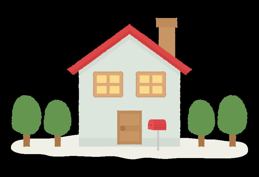 煙突が付いた家のイラスト