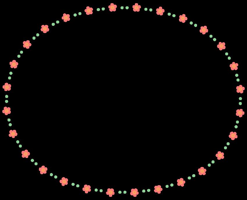梅の花と緑色のドットの楕円形フレーム飾り枠イラスト