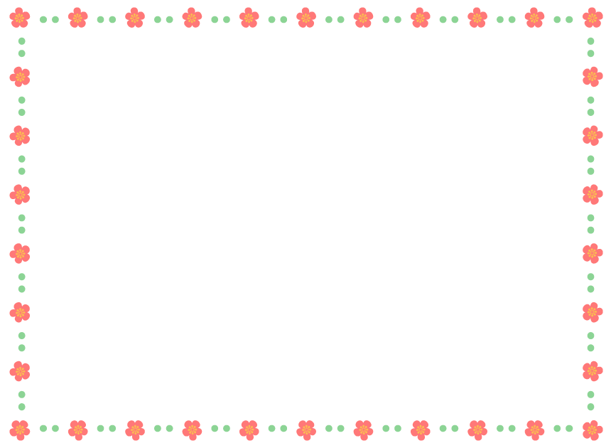 梅の花と緑色のドットの四角いフレーム飾り枠イラスト