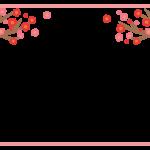 梅の木と梅の花のピンクの角丸フレーム飾り枠イラスト