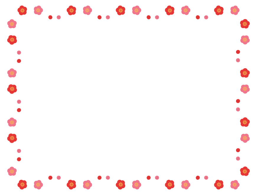 梅の花とつぼみの囲みフレーム飾り枠イラスト