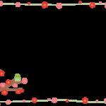 梅と鶯(うぐいす)の手描き風フレーム飾り枠イラスト
