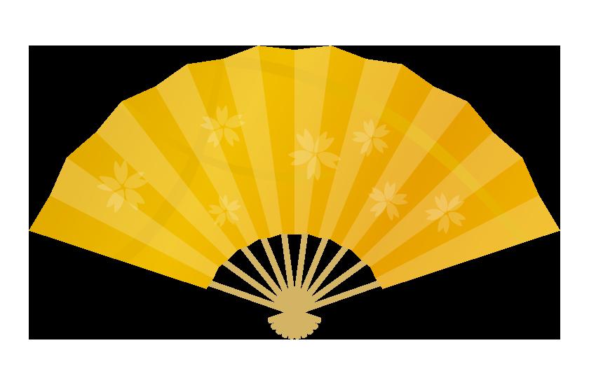金の扇子のイラスト