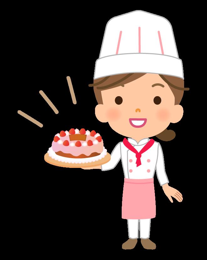 ケーキとパティシエのイラスト