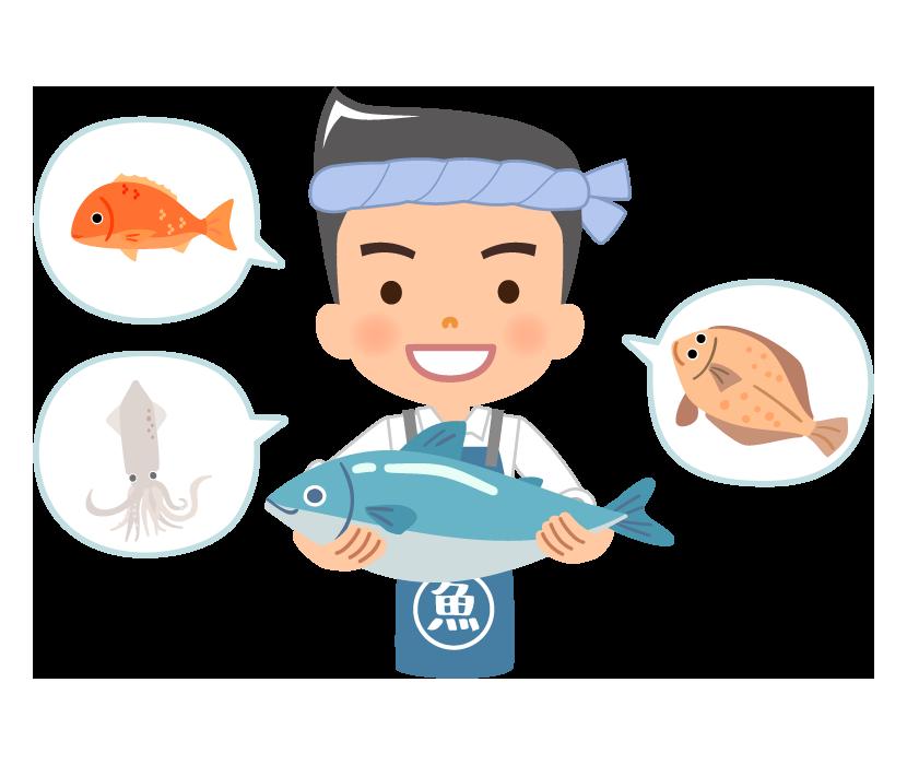 魚とお魚屋さんのイラスト