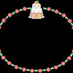 かわいい鏡餅と梅の花の楕円フレーム飾り枠イラスト