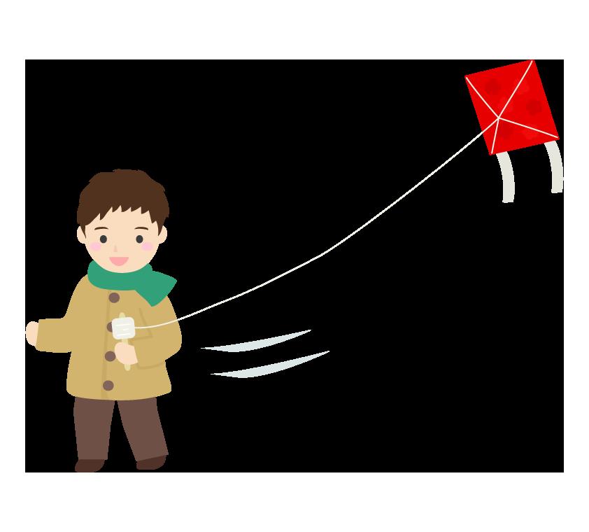 凧あげのイラスト