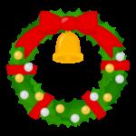 リボンとベルが付いたクリスマスリースのイラスト