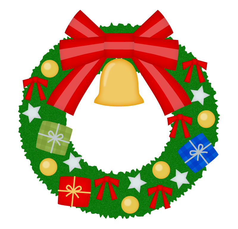 大きなリボンが付いたクリスマスリースのイラスト