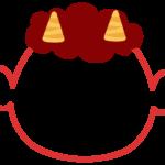 節分・赤鬼の顔のフレーム飾り枠イラスト