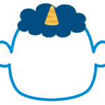 節分・青鬼の顔のフレーム飾り枠イラスト