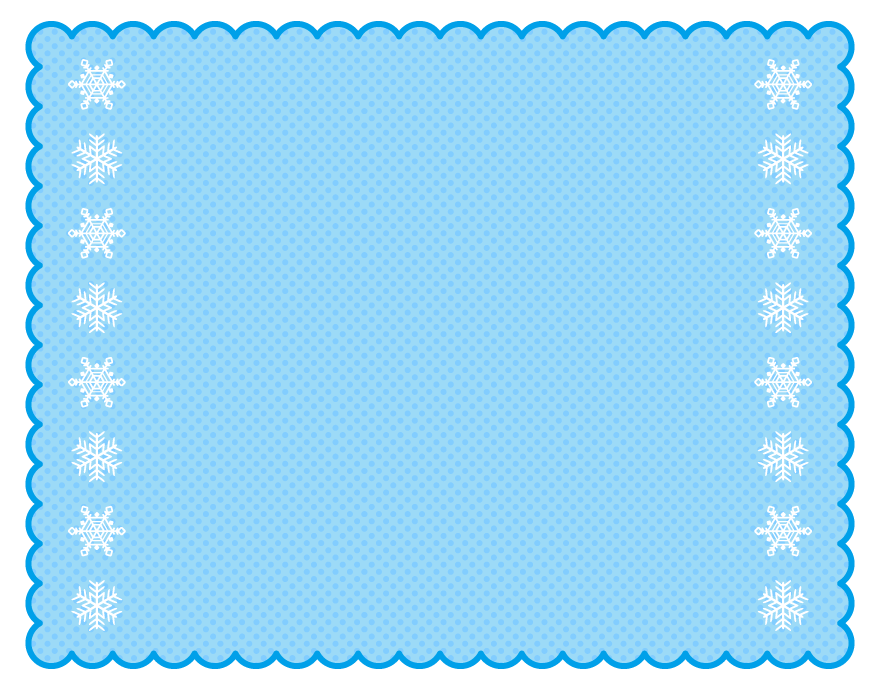 雪の結晶の青色もこもこフレーム飾り枠イラスト
