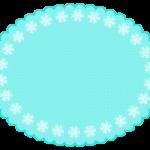 雪の結晶の緑色もこもこ楕円フレーム飾り枠イラスト