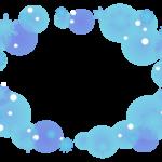 雪の結晶のパステル風のふんわりフレーム飾り枠イラスト