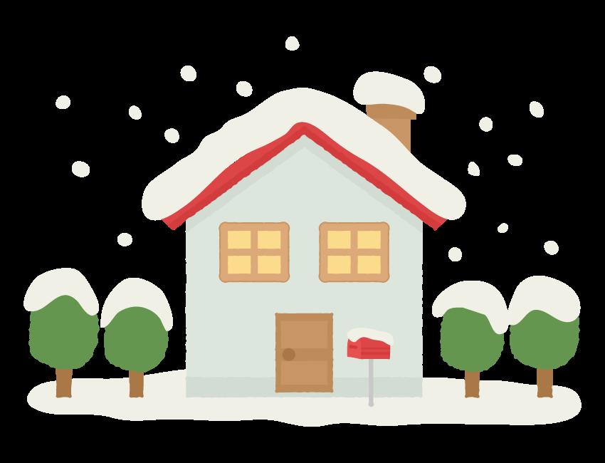 雪が積もっている家のイラスト