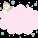 雪だるまと雪のピンク色のもこもこフレーム飾り枠イラスト