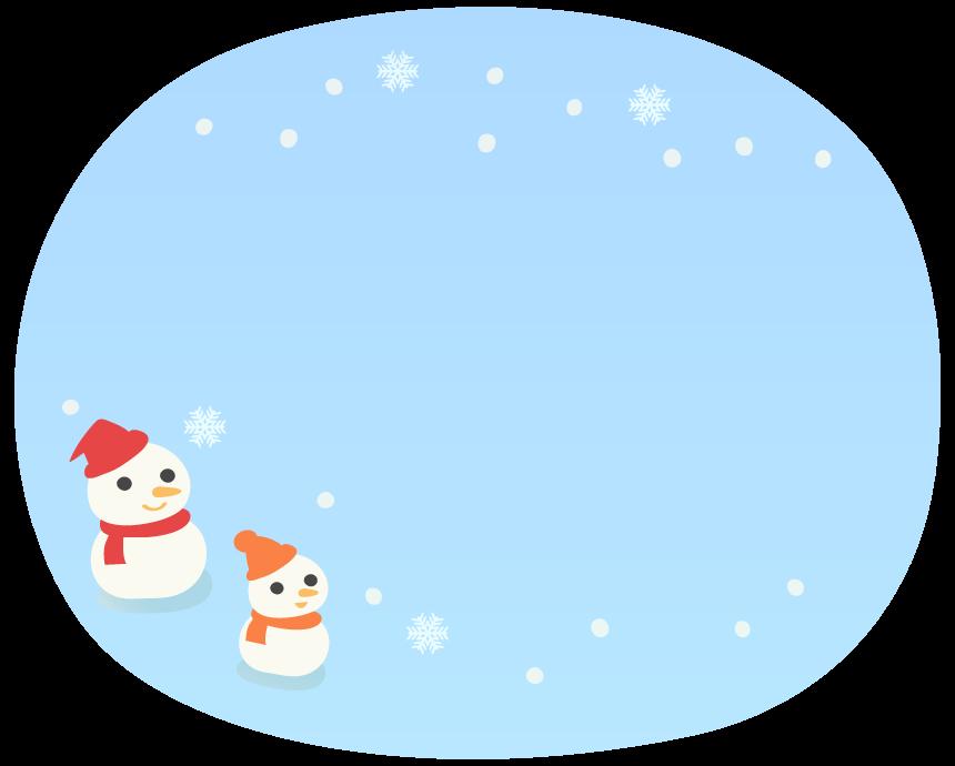 2つの雪だるまと雪のふんわり水色フレーム飾り枠イラスト