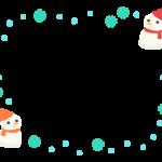 2つの雪だるまと雪のフレーム飾り枠イラスト