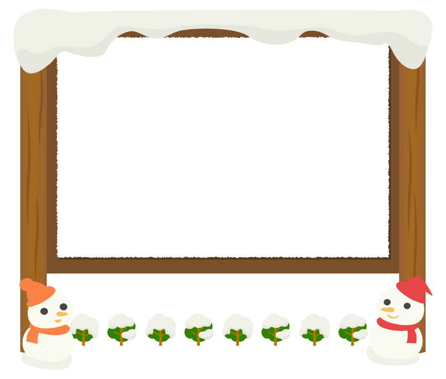 2つの雪だるまと木の看板のフレーム飾り枠イラスト
