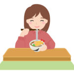 年越しそばを食べる女性のイラスト
