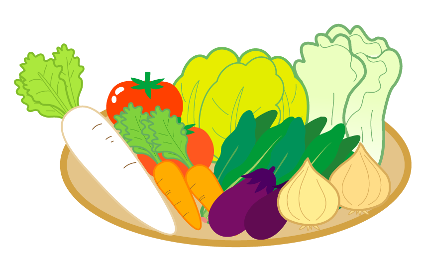 かご盛りの野菜のイラスト
