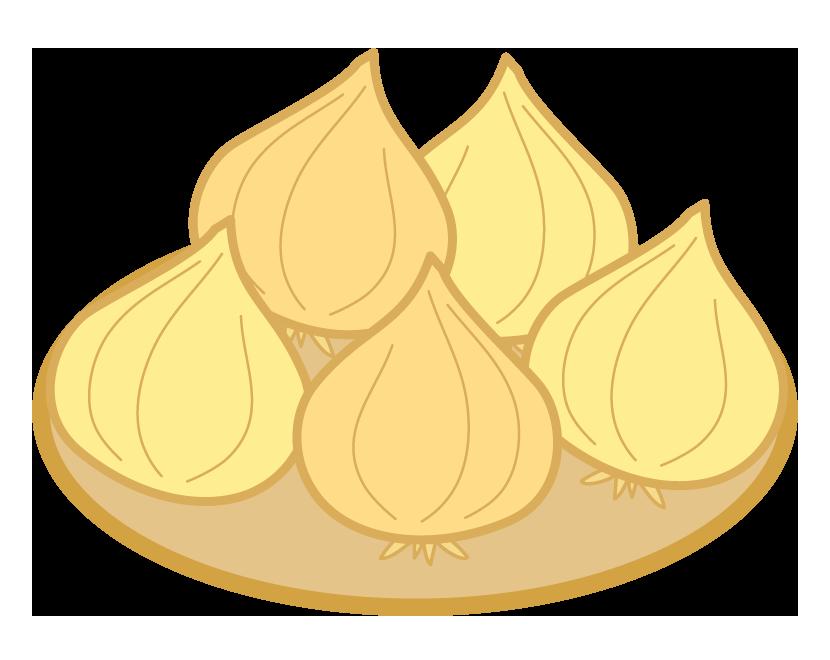 かごに乗った玉ねぎのイラスト