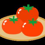 かごに乗ったトマトのイラスト