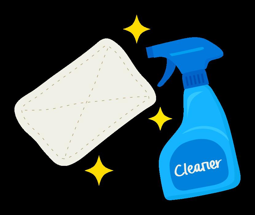 クリーナーと雑巾掃除でピカピカのイラスト