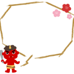 節分・赤鬼と梅の花の筆線吹き出しフレーム飾り枠イラスト