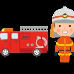 消防車と消防隊員のイラスト