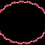 赤とピンクのハートの楕円形フレーム飾り枠イラスト