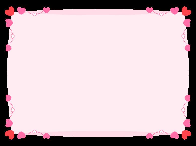 四隅の赤とピンクのハートのフレーム飾り枠イラスト