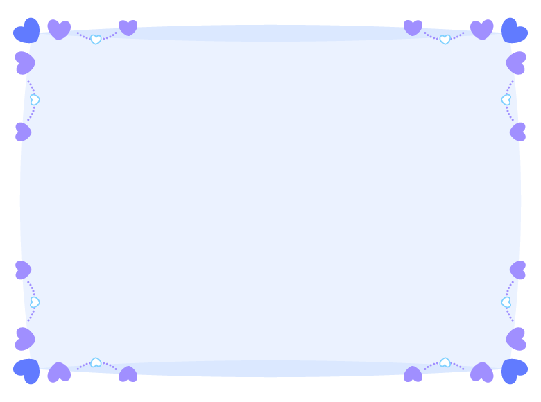 四隅のブルーとパープルのハートのフレーム飾り枠イラスト