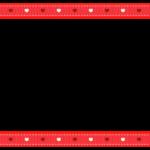ハート柄の赤いリボン風の上下フレーム飾り枠イラスト
