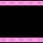 ハート柄のピンク色リボン風の上下フレーム飾り枠イラスト