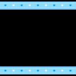 ハート柄の水色リボン風の上下フレーム飾り枠イラスト
