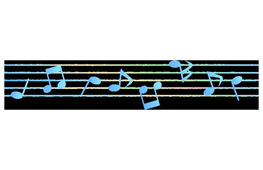 音符と五線譜(カラー)のイラスト