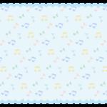 音符の模様の水色もこもこフレーム飾り枠イラスト