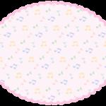 音符の模様のピンク色もこもこ楕円フレーム飾り枠イラスト