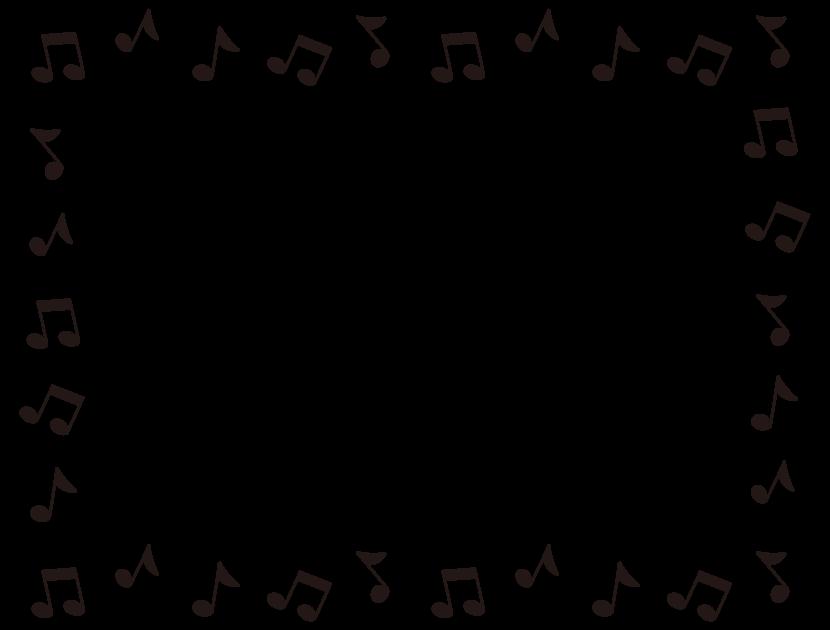 音符の白黒囲みフレーム飾り枠イラスト