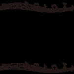 音符と五線譜の白黒上下フレーム飾り枠イラスト