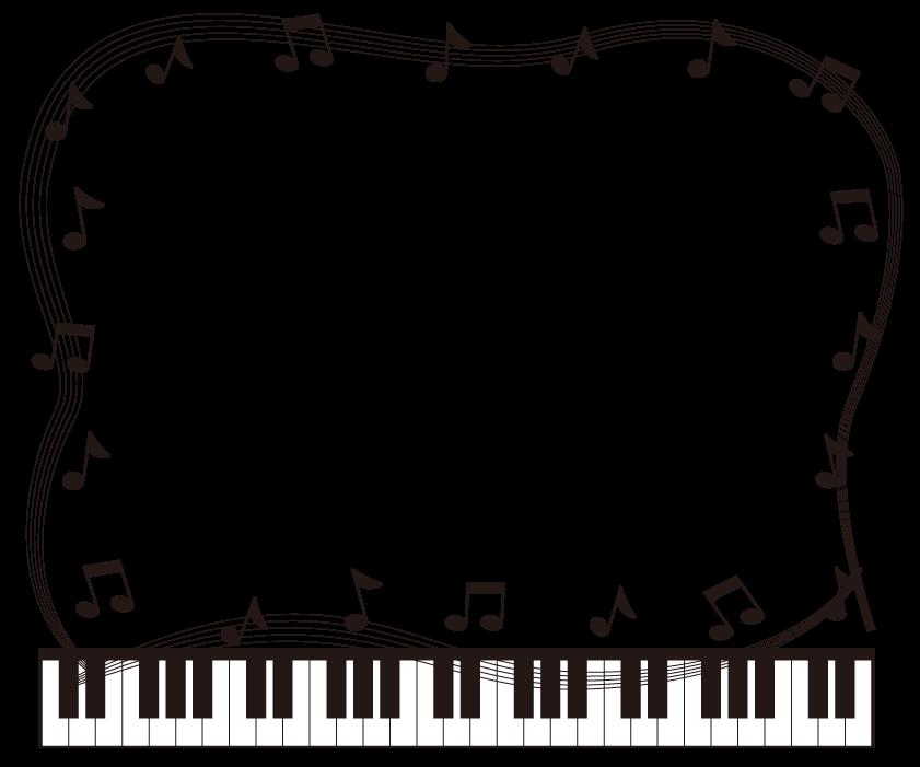 音符と五線譜とピアノの白黒囲みフレーム飾り枠イラスト