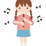 リコーダーを吹いている女の子のイラスト
