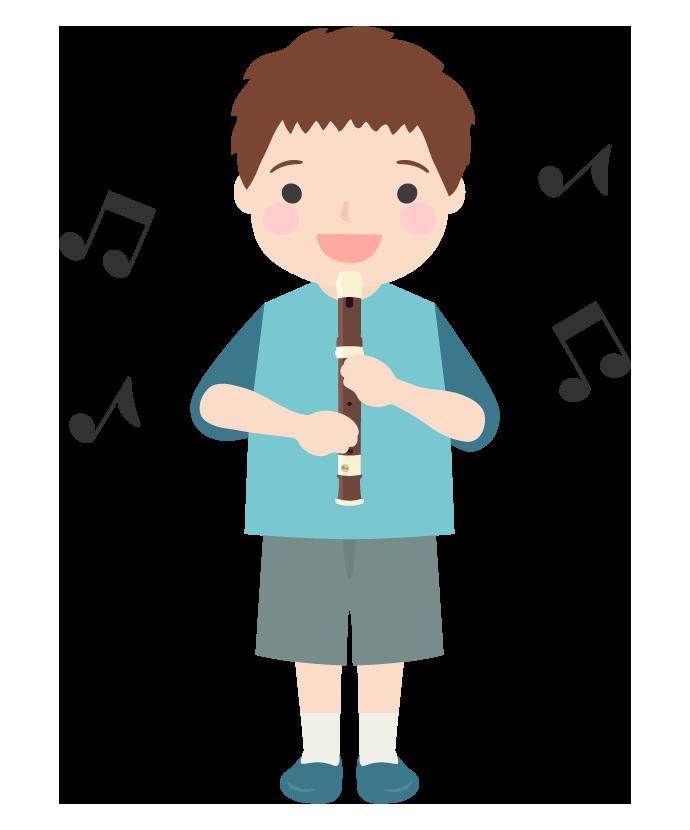 リコーダーを吹いている男の子のイラスト