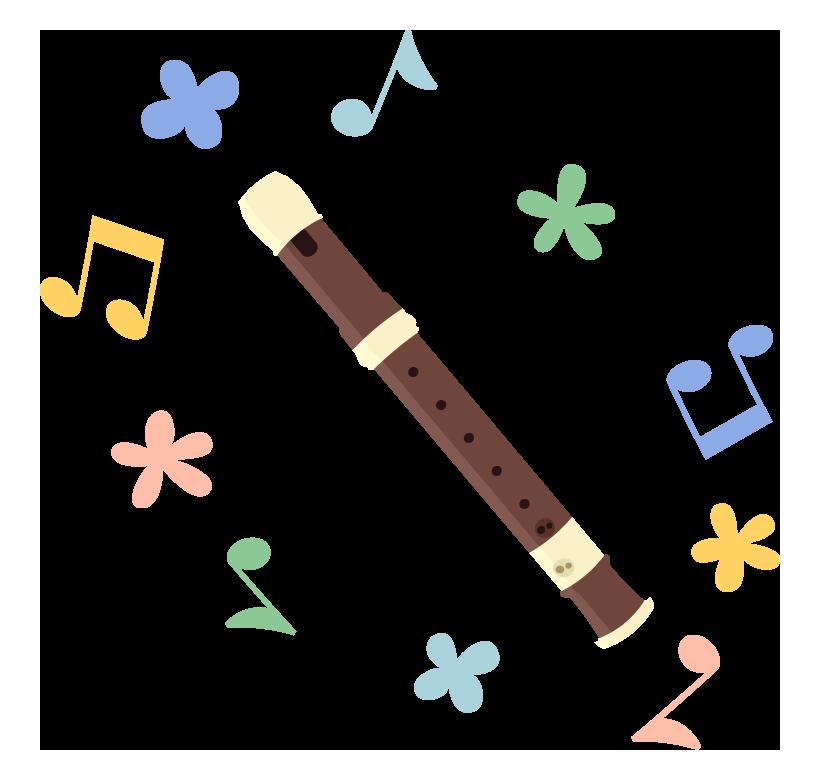 リコーダーとカラフルな音符のイラスト