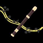 リコーダーと音符のイラスト