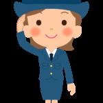 敬礼している婦人警官・女性警察官のイラスト